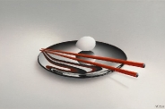 Zwart bord met rode stokjes